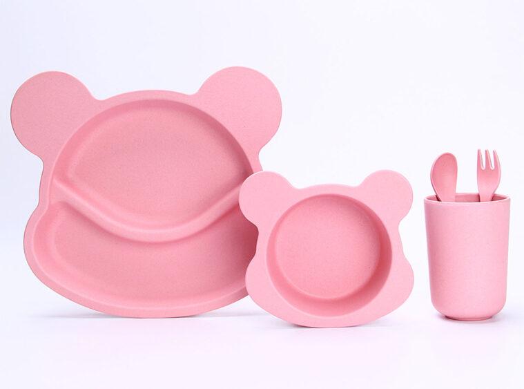 Παιδικό σετ μπαμπού μονόχρωμο ροζ