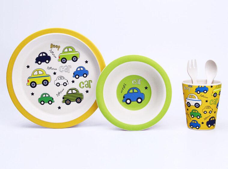 Παιδικό σετ μπαμπού στρογγυλό cars
